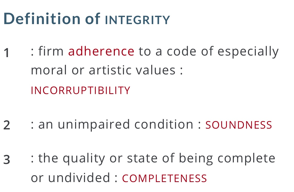 Definition of integrity on Merriam-Webster.com